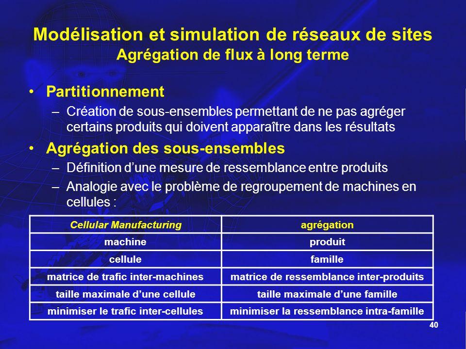 Modélisation et simulation de réseaux de sites Agrégation de flux à long terme