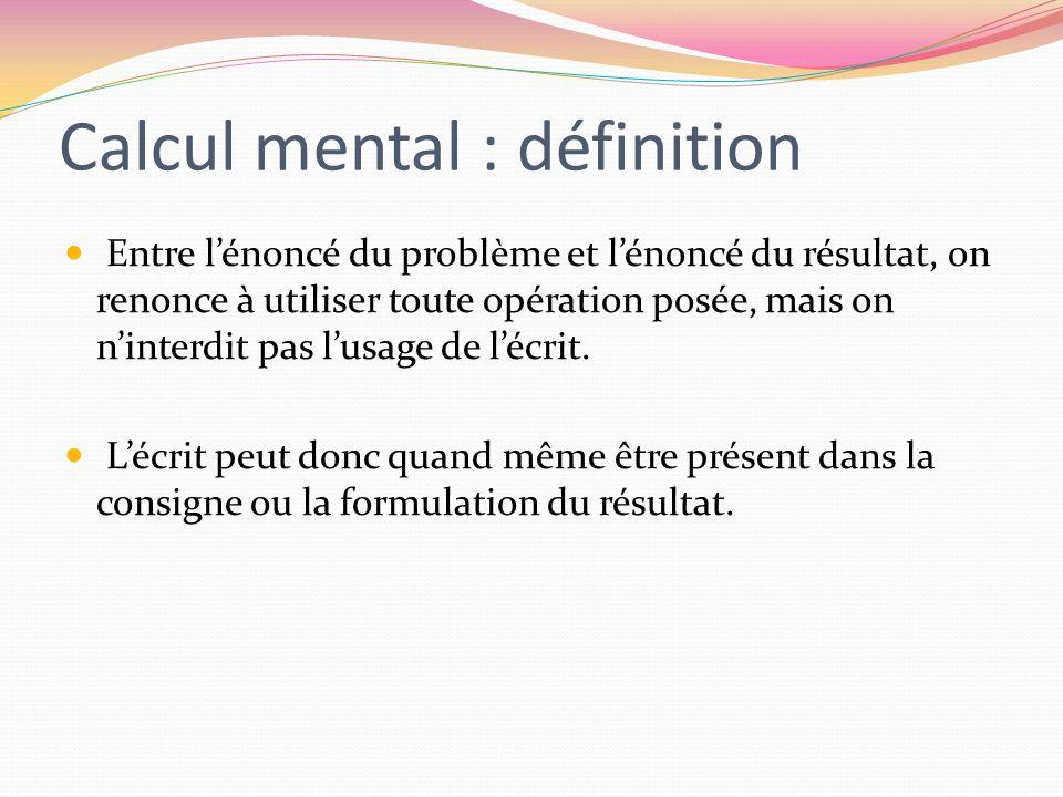 Calcul mental : définition