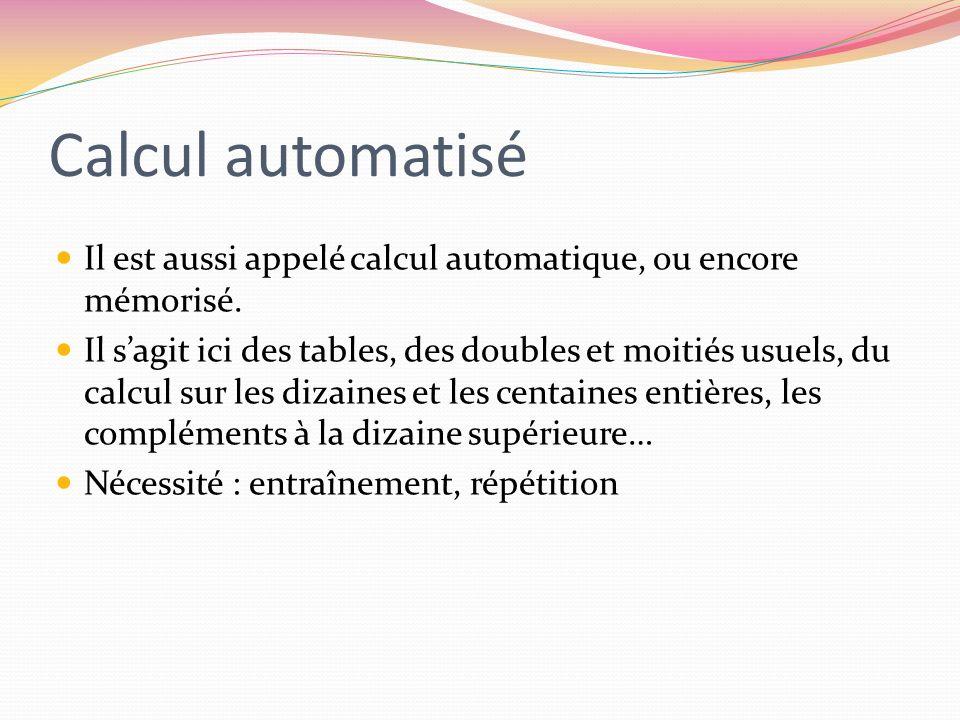 Calcul automatisé Il est aussi appelé calcul automatique, ou encore mémorisé.
