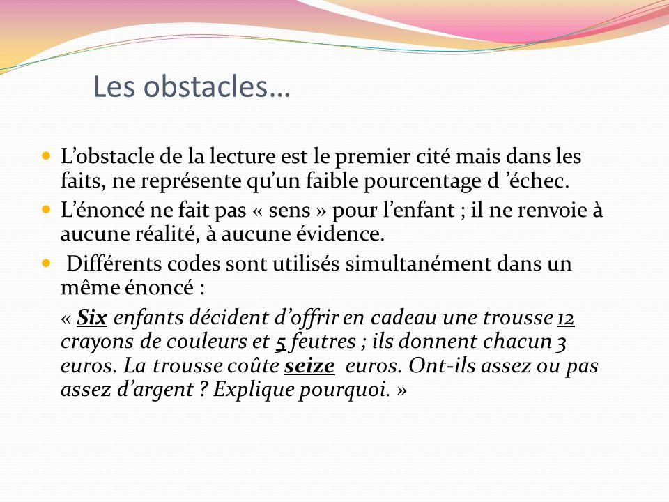 Les obstacles… L'obstacle de la lecture est le premier cité mais dans les faits, ne représente qu'un faible pourcentage d 'échec.