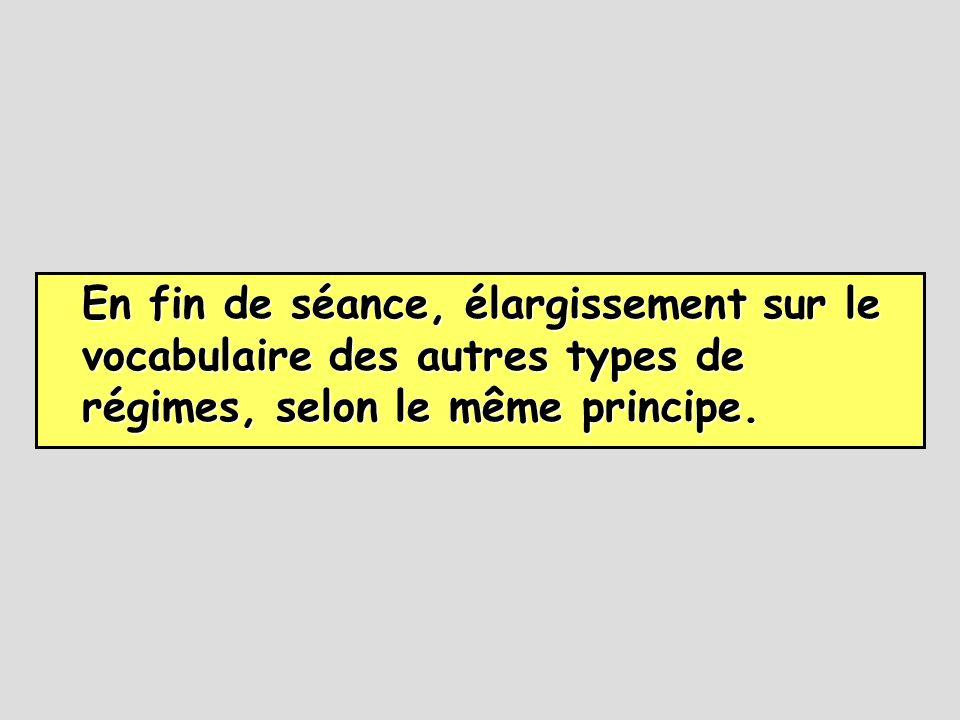 En fin de séance, élargissement sur le vocabulaire des autres types de régimes, selon le même principe.
