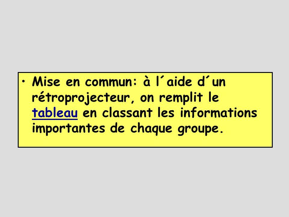 Mise en commun: à l´aide d´un rétroprojecteur, on remplit le tableau en classant les informations importantes de chaque groupe.