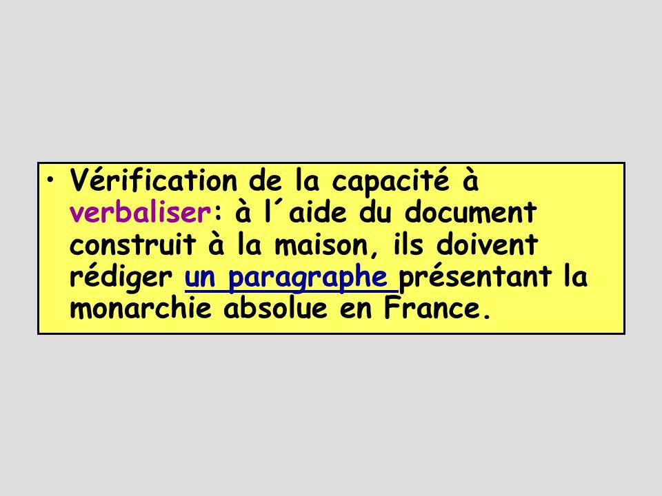 Vérification de la capacité à verbaliser: à l´aide du document construit à la maison, ils doivent rédiger un paragraphe présentant la monarchie absolue en France.