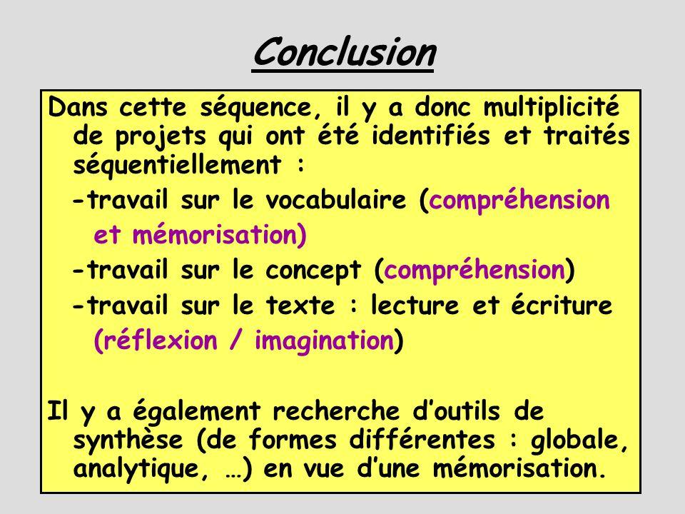 Conclusion Dans cette séquence, il y a donc multiplicité de projets qui ont été identifiés et traités séquentiellement :