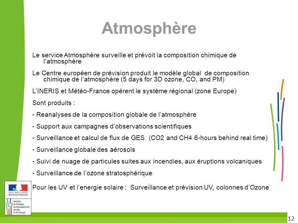 Atmosphère Le service Atmosphère surveille et prévoit la composition chimique de l'atmosphère.