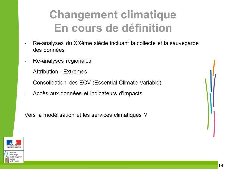 Changement climatique En cours de définition
