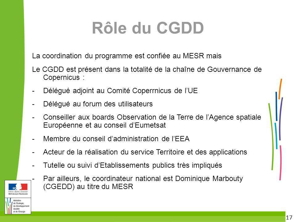 Rôle du CGDD La coordination du programme est confiée au MESR mais