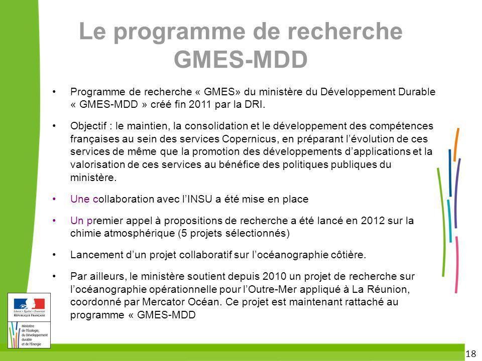 Le programme de recherche GMES-MDD