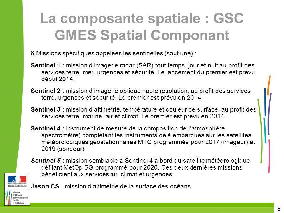 La composante spatiale : GSC GMES Spatial Componant