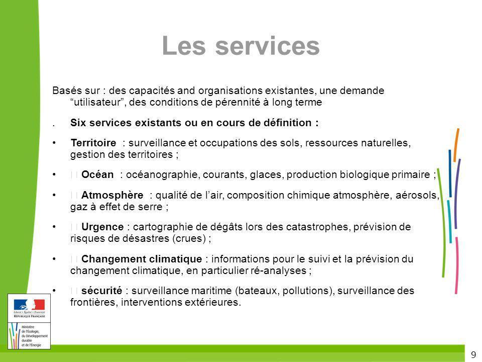 Les services Basés sur : des capacités and organisations existantes, une demande utilisateur , des conditions de pérennité à long terme.