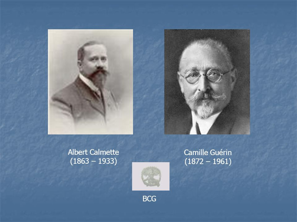 Albert Calmette (1863 – 1933) Camille Guérin (1872 – 1961) BCG
