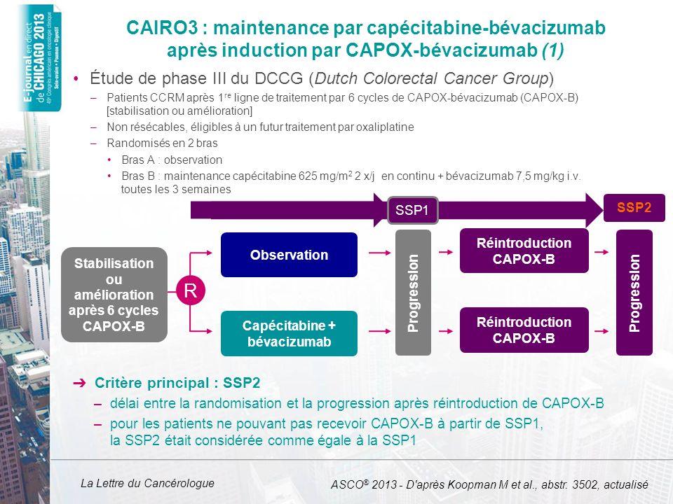 CAIRO3 : maintenance par capécitabine-bévacizumab après induction par CAPOX-bévacizumab (1)