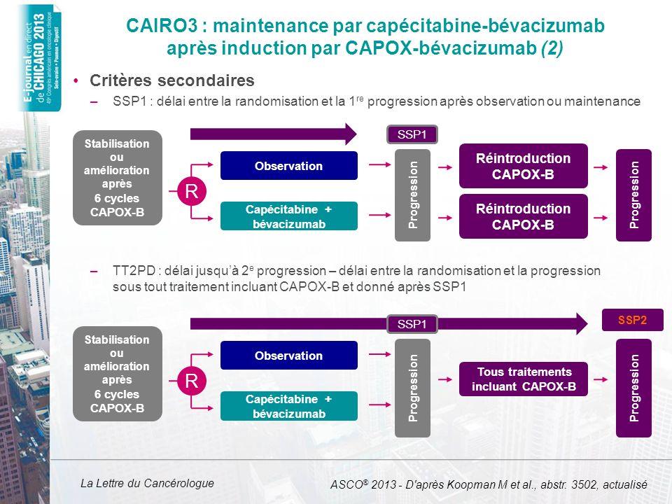 CAIRO3 : maintenance par capécitabine-bévacizumab après induction par CAPOX-bévacizumab (2)