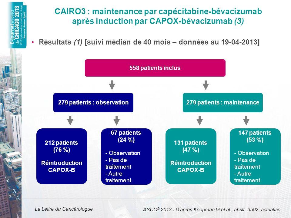 CAIRO3 : maintenance par capécitabine-bévacizumab après induction par CAPOX-bévacizumab (3)