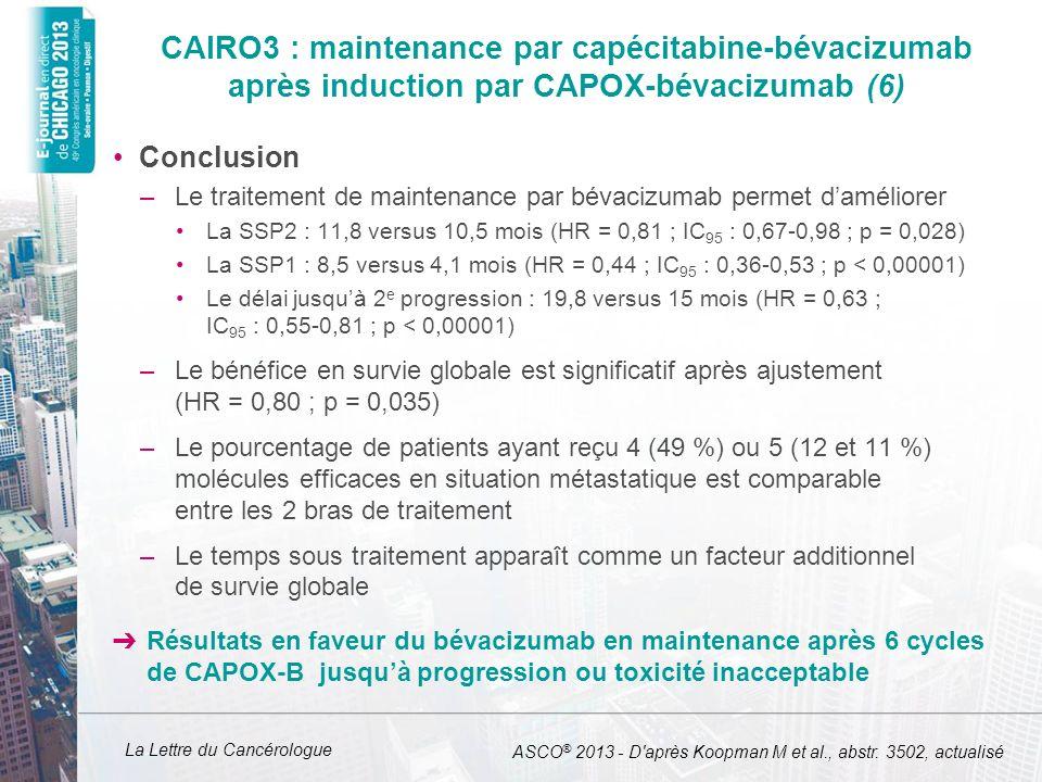 CAIRO3 : maintenance par capécitabine-bévacizumab après induction par CAPOX-bévacizumab (6)