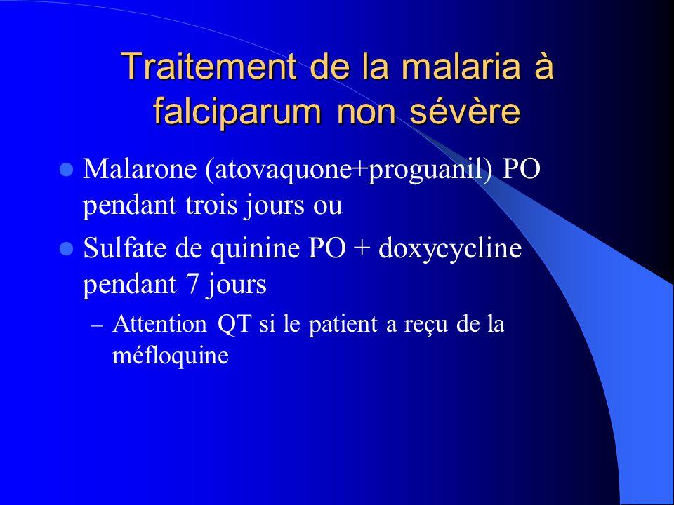 Traitement de la malaria à falciparum non sévère