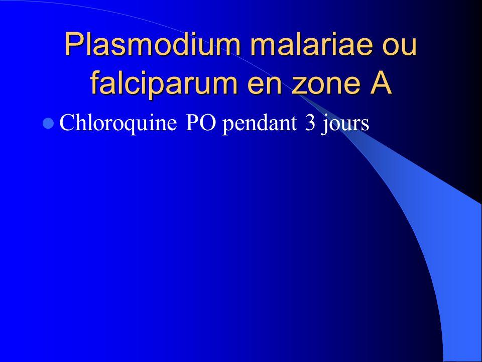 Plasmodium malariae ou falciparum en zone A