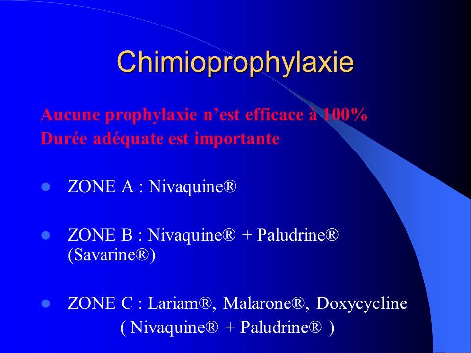 Chimioprophylaxie Aucune prophylaxie n'est efficace à 100%