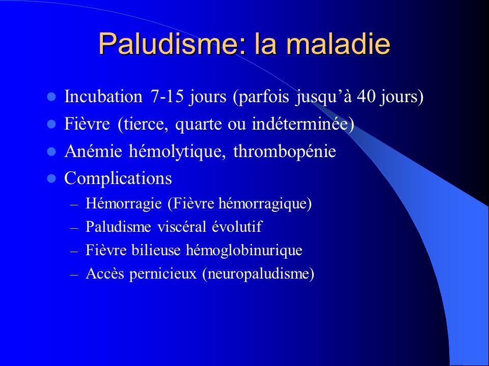 Paludisme: la maladie Incubation 7-15 jours (parfois jusqu'à 40 jours)