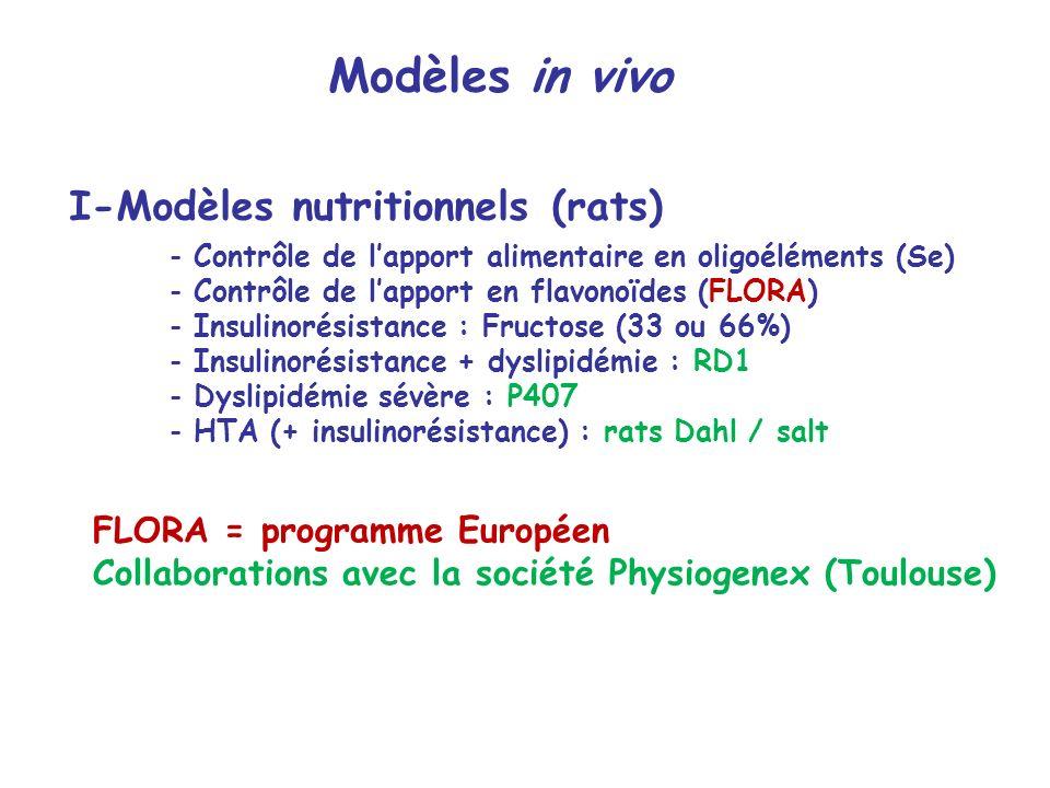 I-Modèles nutritionnels (rats)