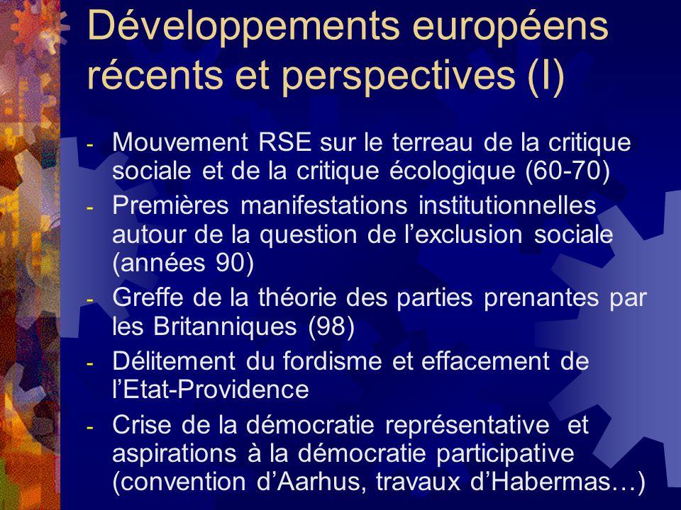 Développements européens récents et perspectives (I)