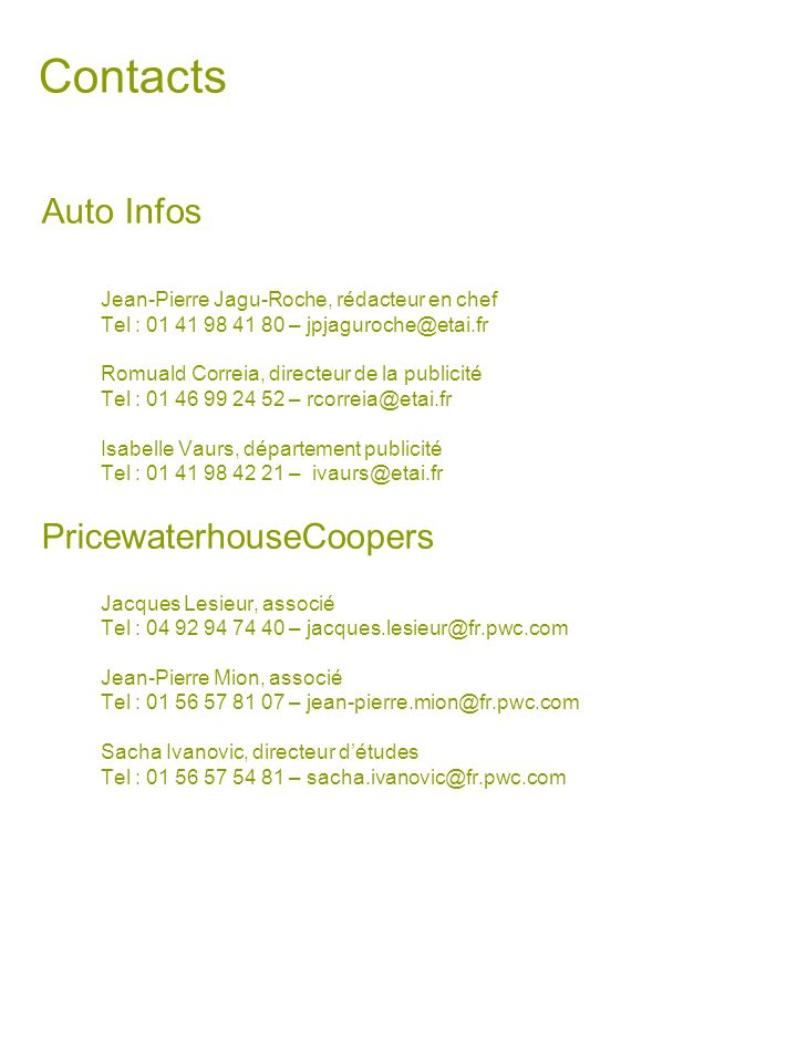 Contacts Auto Infos PricewaterhouseCoopers