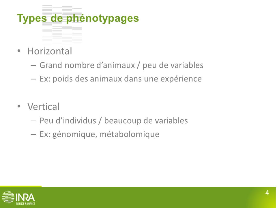 Types de phénotypages Horizontal Vertical