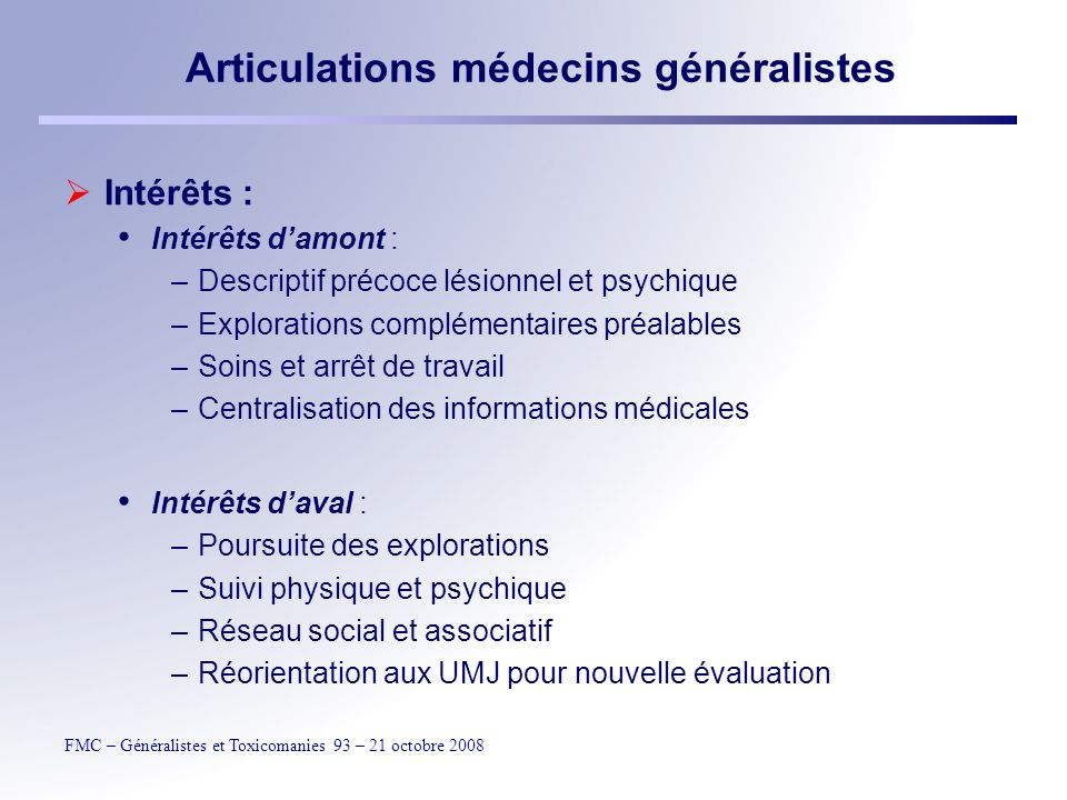 Articulations médecins généralistes