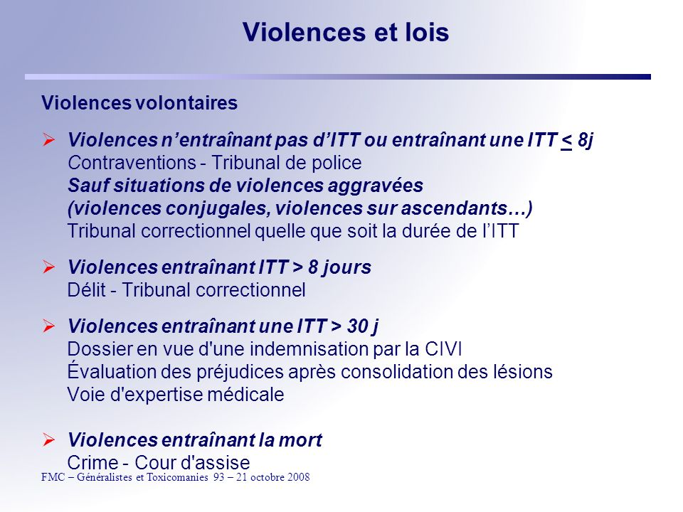 Violences et lois Violences volontaires