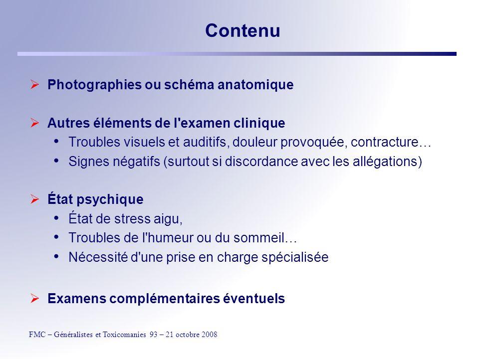 Contenu Photographies ou schéma anatomique