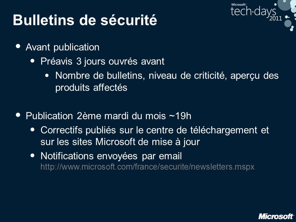 Bulletins de sécurité Avant publication Préavis 3 jours ouvrés avant