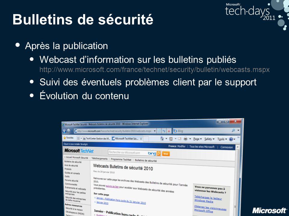Bulletins de sécurité Après la publication