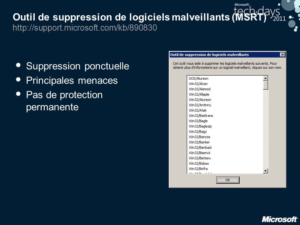 Outil de suppression de logiciels malveillants (MSRT) http://support