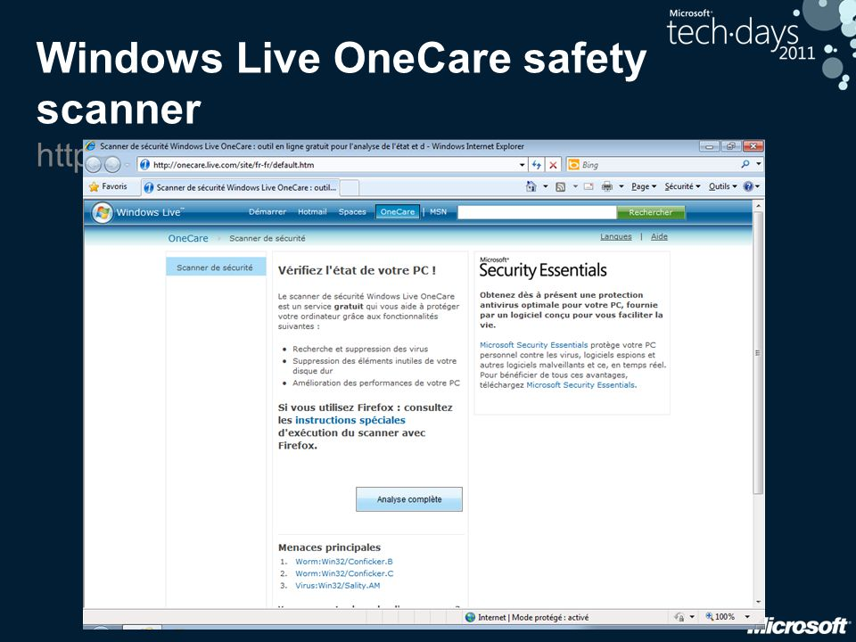 Windows Live OneCare safety scanner http://safety.live.com/