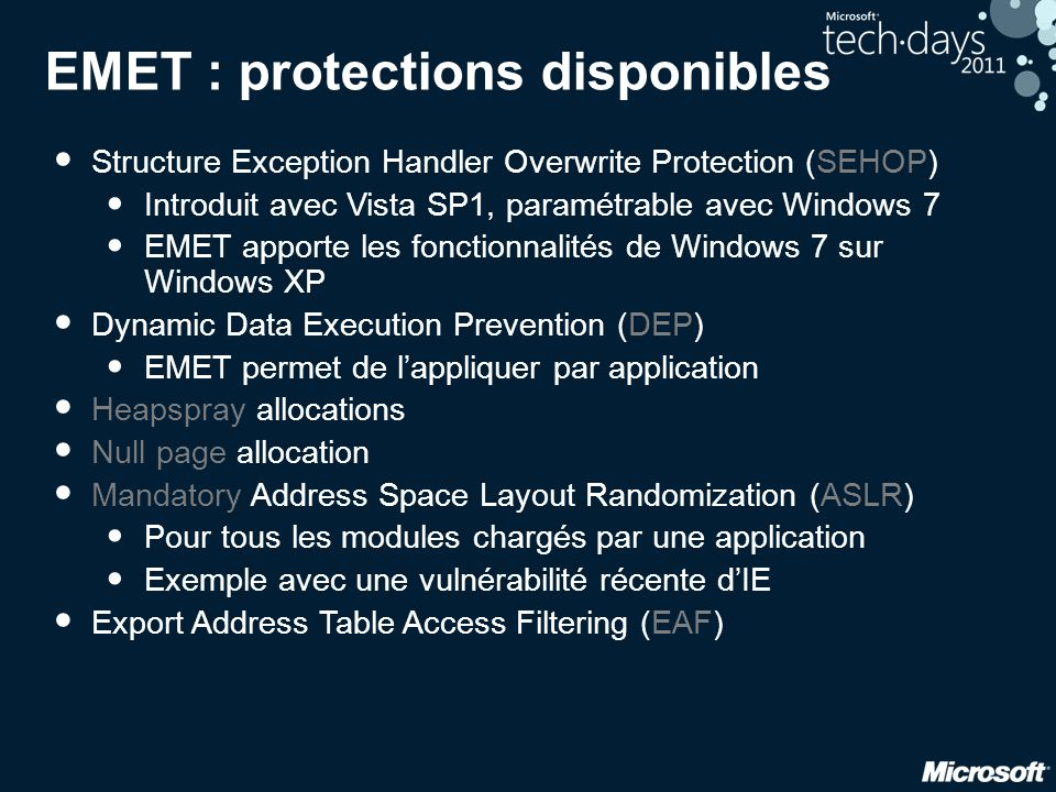 EMET : protections disponibles