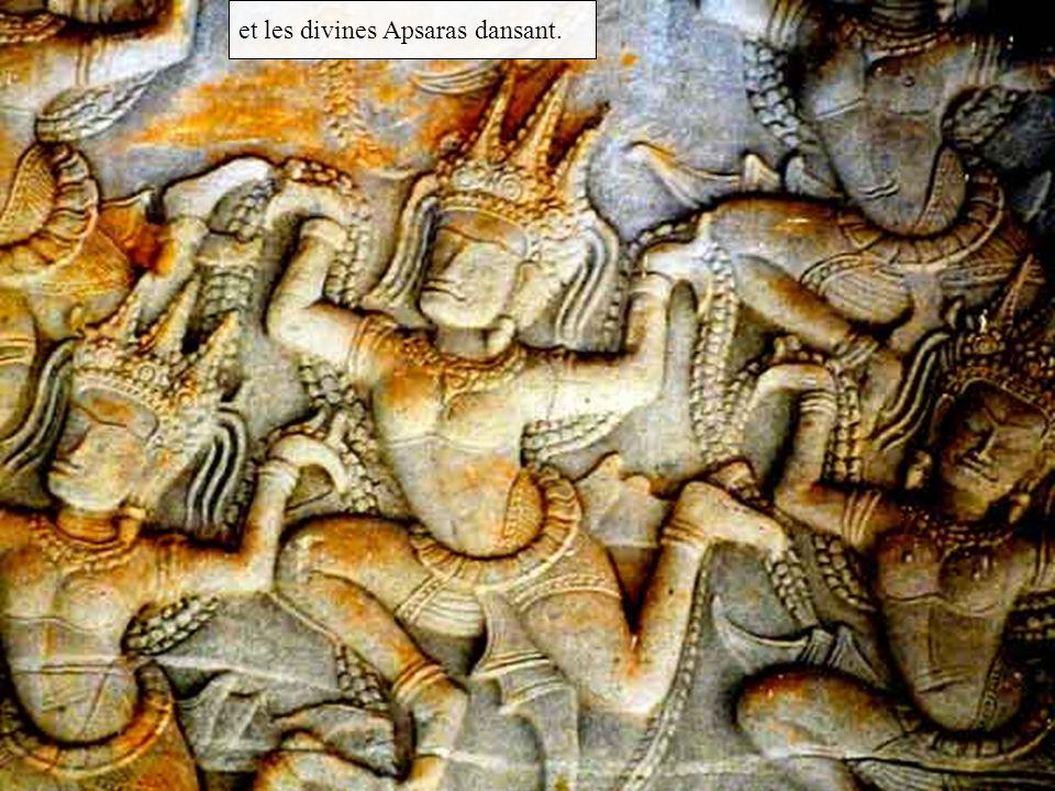 et les divines Apsaras dansant.