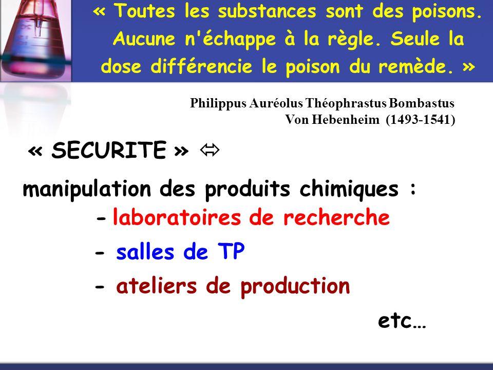 manipulation des produits chimiques :