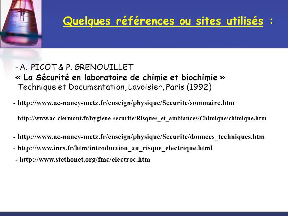 Quelques références ou sites utilisés :