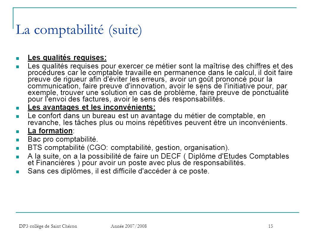 La comptabilité (suite)