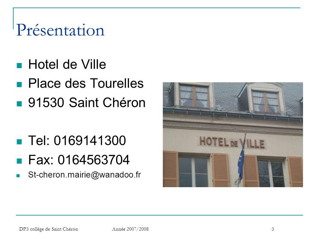 Présentation Hotel de Ville Place des Tourelles 91530 Saint Chéron