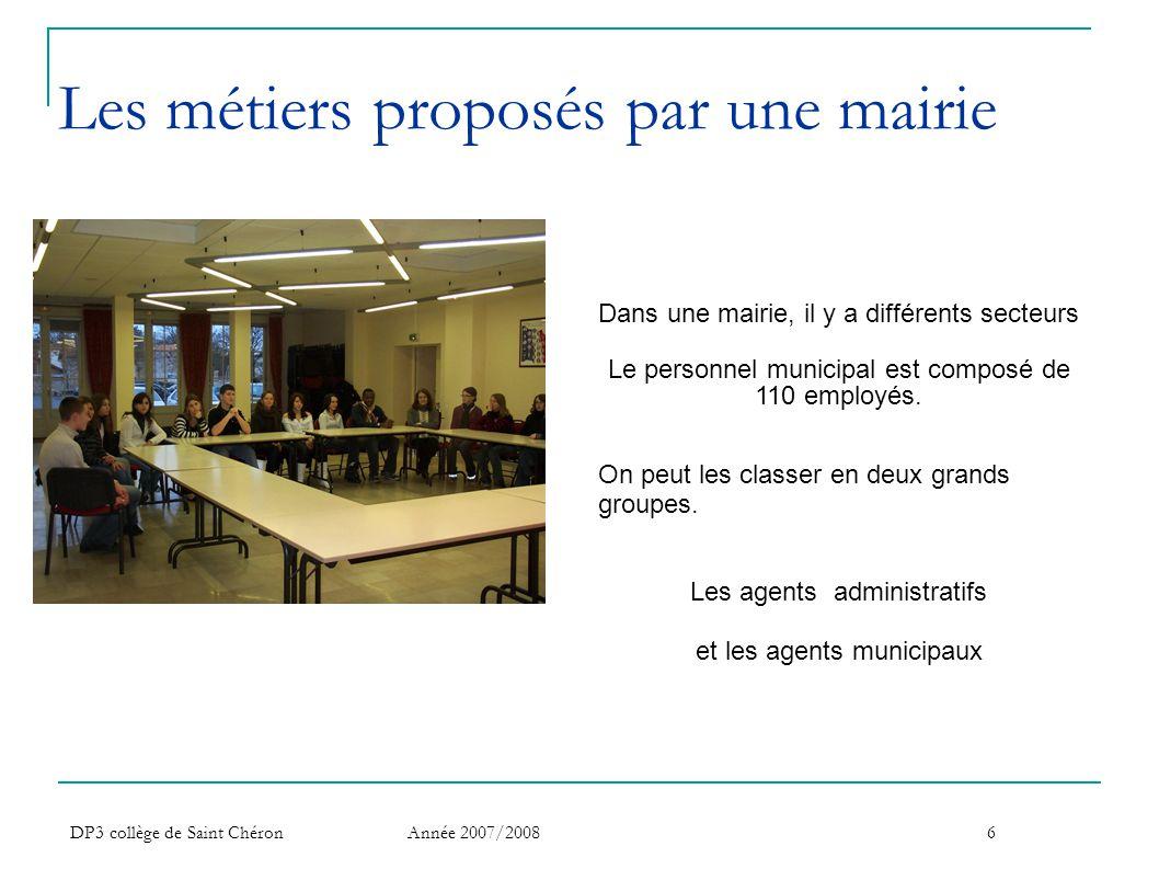 Les métiers proposés par une mairie
