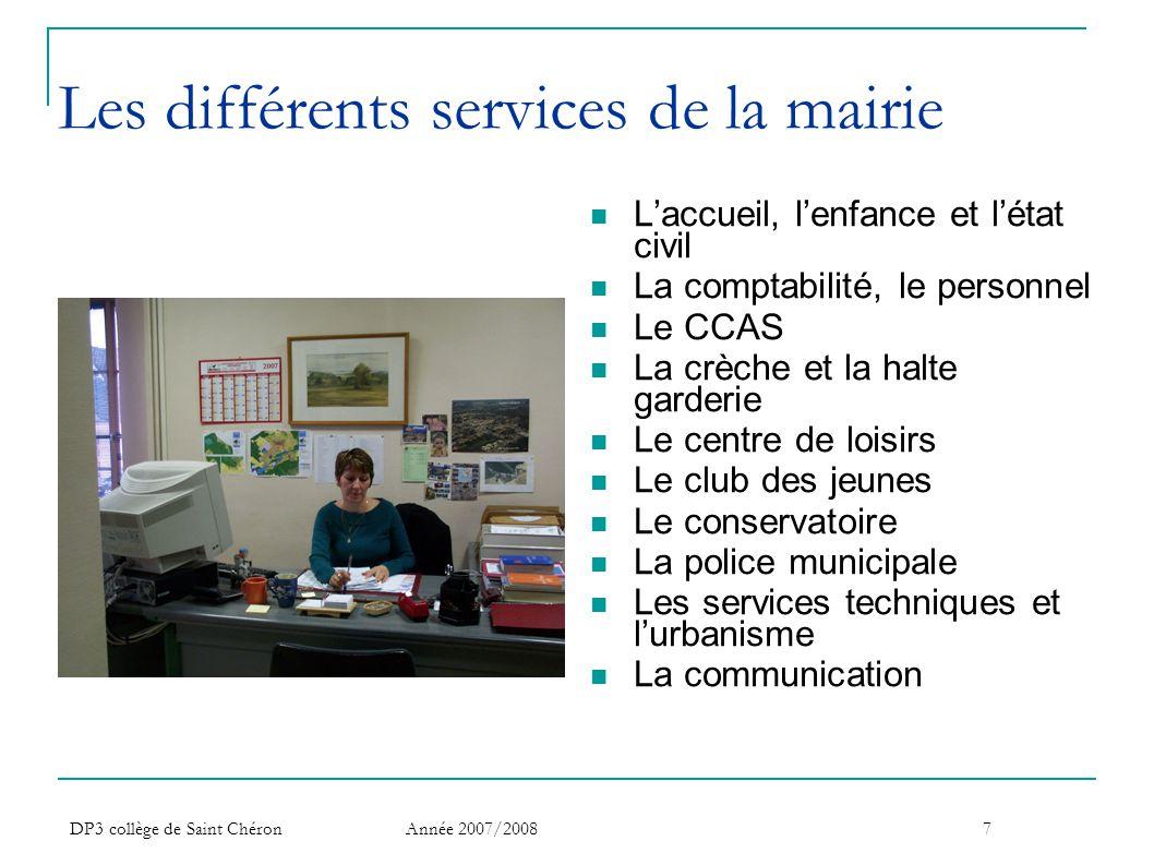 Les différents services de la mairie