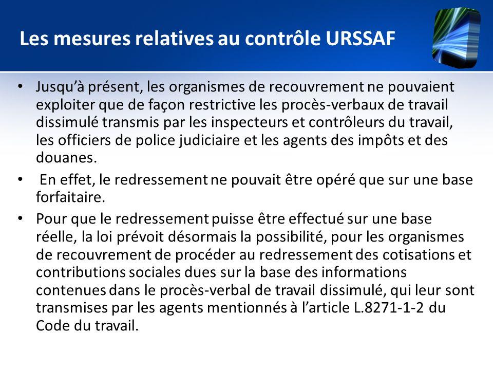 Les mesures relatives au contrôle URSSAF