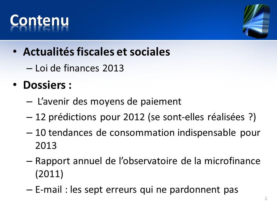 Contenu Actualités fiscales et sociales Dossiers :