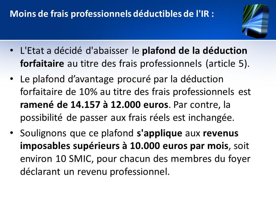 Moins de frais professionnels déductibles de l IR :