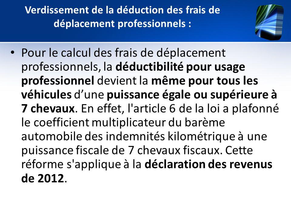 Verdissement de la déduction des frais de déplacement professionnels :