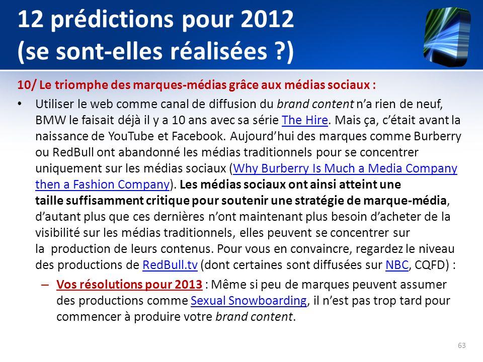 12 prédictions pour 2012 (se sont-elles réalisées )