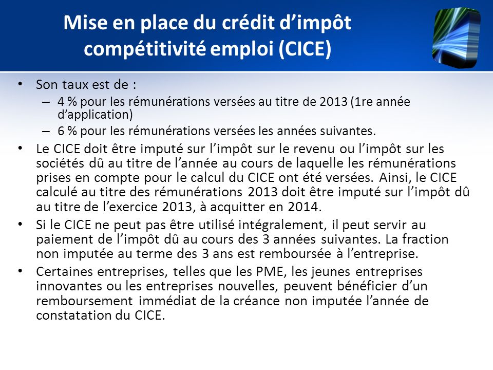 Mise en place du crédit d'impôt compétitivité emploi (CICE)