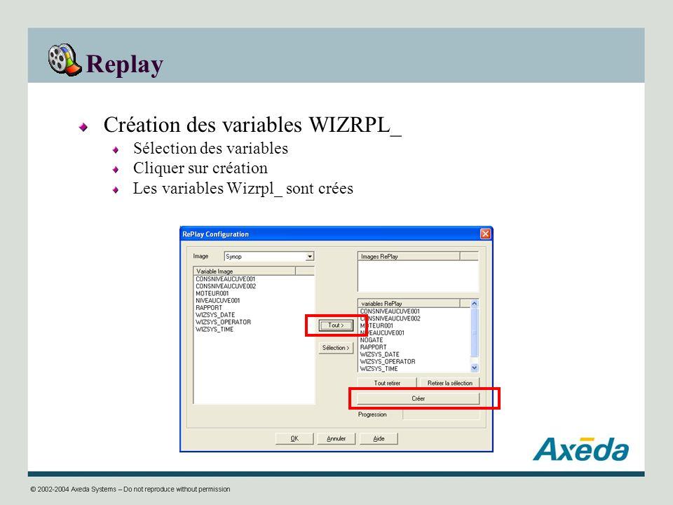 Replay Création des variables WIZRPL_ Sélection des variables