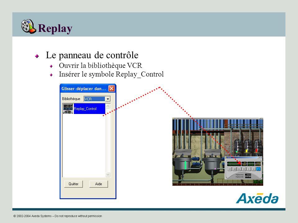 Replay Le panneau de contrôle Ouvrir la bibliothèque VCR